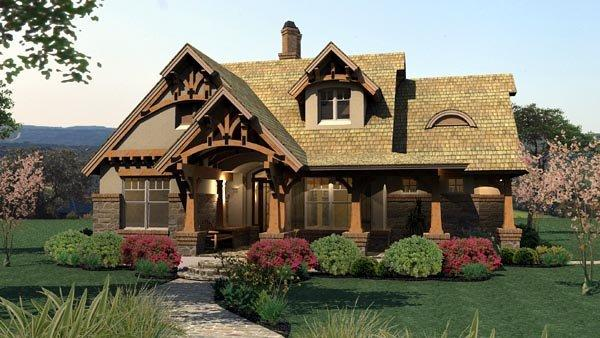 Bungalow, Cottage, Craftsman, Tuscan House Plan 65870 with 3 Beds, 2 Baths, 2 Car Garage Elevation