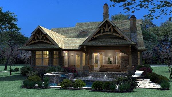 Bungalow, Cottage, Craftsman, Tuscan House Plan 65870 with 3 Beds, 2 Baths, 2 Car Garage Rear Elevation