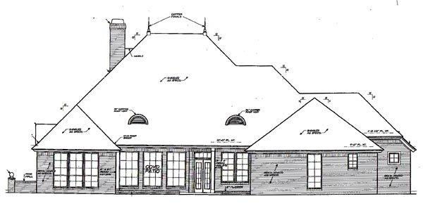 Traditional House Plan 66016 with 4 Beds, 4 Baths, 3 Car Garage Rear Elevation