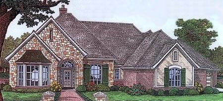 One-Story, Traditional House Plan 66111 with 4 Beds, 4 Baths, 2 Car Garage Elevation