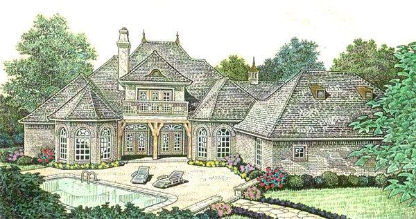 Country, French Country, Southern House Plan 66237 with 3 Beds, 4 Baths, 3 Car Garage Rear Elevation