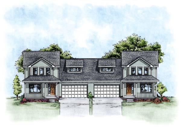 Traditional Multi-Family Plan 66677 with 6 Beds, 6 Baths, 4 Car Garage Elevation