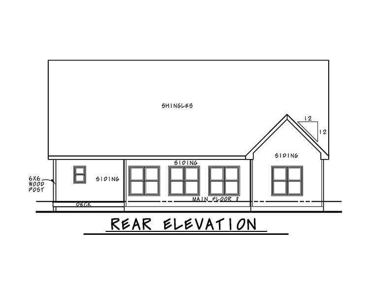 Cottage, Country, Craftsman, Southern, Traditional House Plan 66782 with 4 Beds, 5 Baths, 2 Car Garage Rear Elevation