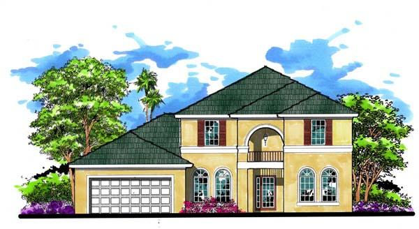 Contemporary, Florida, Traditional House Plan 66877 with 4 Beds, 3 Baths, 2 Car Garage Elevation