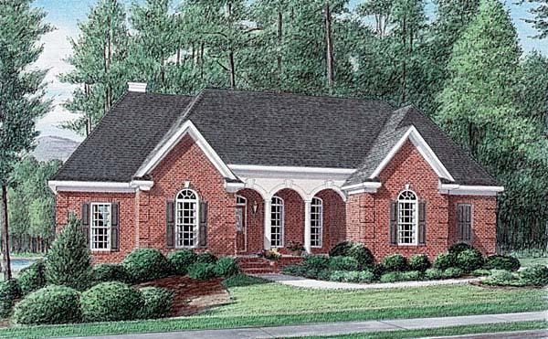 One-Story, Traditional House Plan 67077 with 4 Beds, 3 Baths, 2 Car Garage Elevation