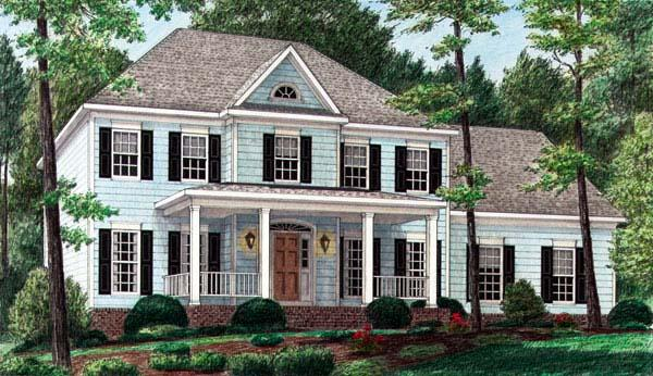 Colonial House Plan 67123 with 4 Beds, 4 Baths, 2 Car Garage Elevation