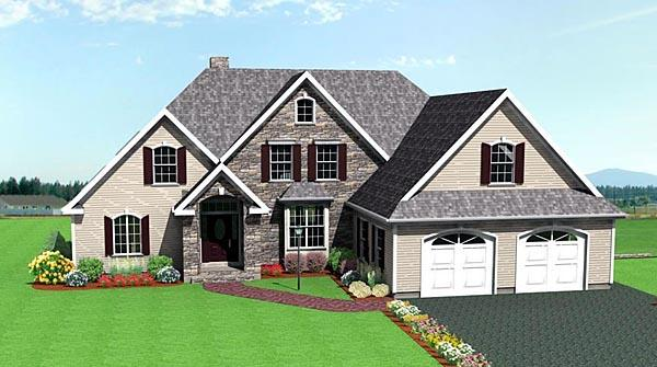 House Plan 67285 with 3 Beds, 3 Baths, 2 Car Garage Elevation