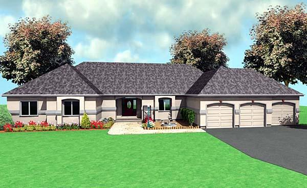 One-Story, Ranch House Plan 67289 with 3 Beds, 3 Baths, 3 Car Garage Elevation