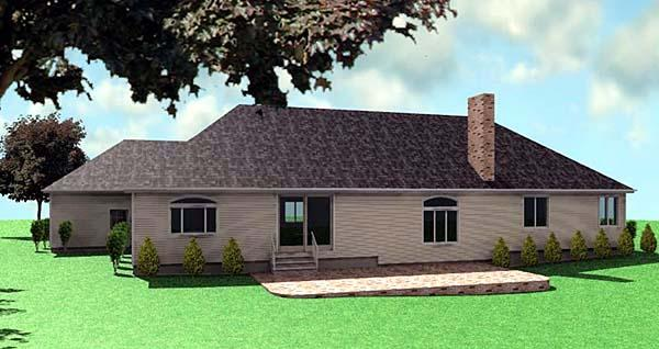 One-Story, Ranch House Plan 67289 with 3 Beds, 3 Baths, 3 Car Garage Rear Elevation