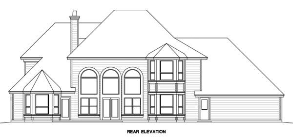 Traditional House Plan 67415 with 4 Beds, 4 Baths, 3 Car Garage Rear Elevation