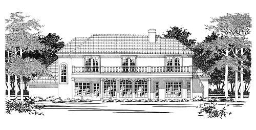 Traditional House Plan 67418 with 3 Beds, 4 Baths, 2 Car Garage Rear Elevation