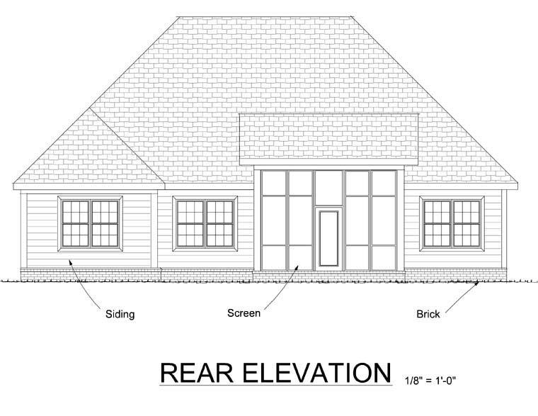 Cottage, Country House Plan 67885 with 3 Beds, 2 Baths, 2 Car Garage Rear Elevation