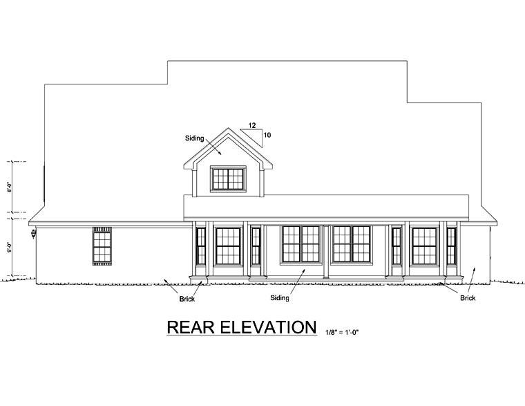 Country, Southern House Plan 68154 with 4 Beds, 4 Baths, 3 Car Garage Rear Elevation
