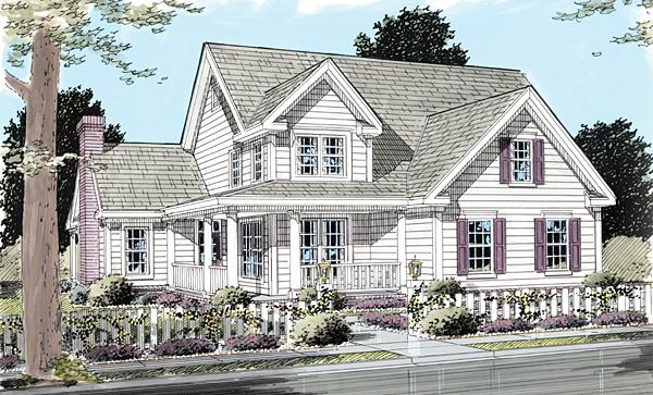 Country, Farmhouse House Plan 68170 with 3 Beds, 3 Baths, 2 Car Garage Elevation