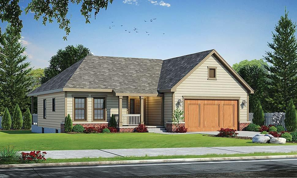 Traditional House Plan 68233 with 3 Beds, 2 Baths, 2 Car Garage Elevation