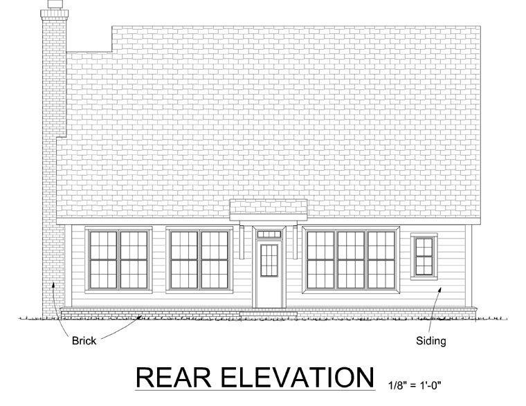 Country, Farmhouse House Plan 68347 with 3 Beds, 3 Baths, 2 Car Garage Rear Elevation