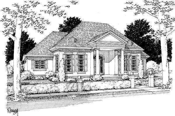 Colonial, Greek Revival House Plan 68466 with 3 Beds, 2 Baths, 2 Car Garage Elevation