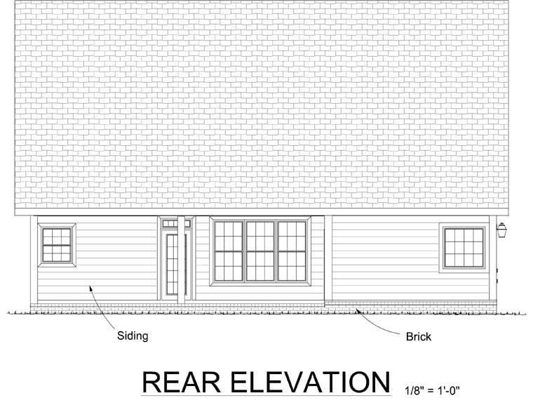 Country, European House Plan 68498 with 4 Beds, 4 Baths, 2 Car Garage Rear Elevation