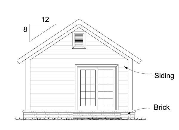 Cottage, Country, Ranch, Traditional House Plan 68572 with 1 Beds, 1 Baths Rear Elevation