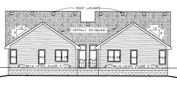 Traditional Multi-Family Plan 68713 with 4 Beds, 4 Baths, 4 Car Garage Rear Elevation