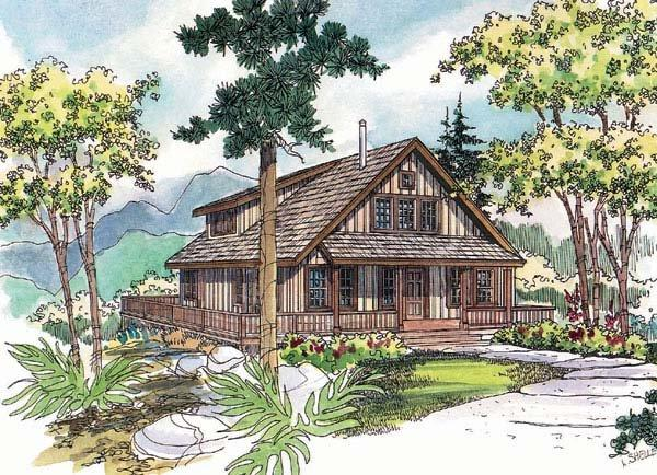 Cabin, Country House Plan 69144 with 3 Beds, 3 Baths Elevation