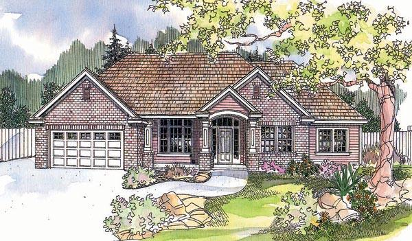 Traditional House Plan 69618 with 2 Beds, 3 Baths, 2 Car Garage Elevation