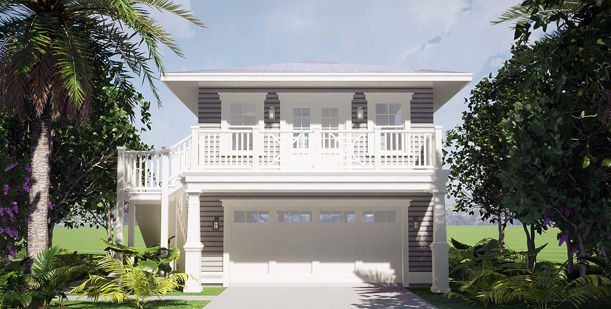 Coastal Garage-Living Plan 70858 with 1 Beds, 1 Baths, 2 Car Garage Elevation