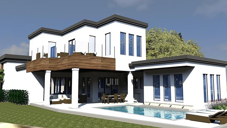 Contemporary, Modern House Plan 71545 with 3 Beds, 4 Baths, 2 Car Garage Rear Elevation