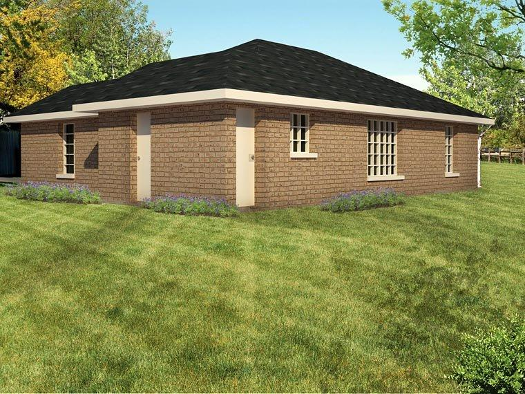 Ranch, Southwest House Plan 71921 with 3 Beds, 2 Baths Rear Elevation