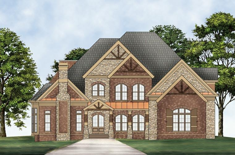 European, Greek Revival House Plan 72096 with 5 Beds, 5 Baths, 3 Car Garage Elevation