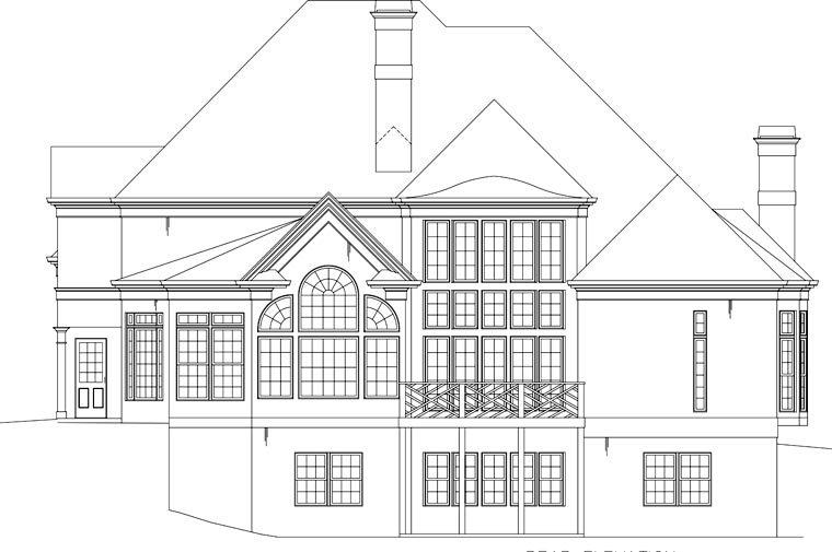 European, Greek Revival House Plan 72096 with 5 Beds, 5 Baths, 3 Car Garage Rear Elevation