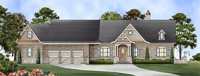 Ranch House Plan 72169 with 3 Beds, 3 Baths, 3 Car Garage Elevation