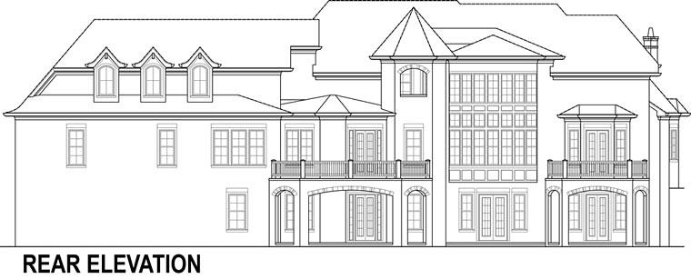 European, French Country House Plan 72230 with 4 Beds, 5 Baths, 3 Car Garage Rear Elevation