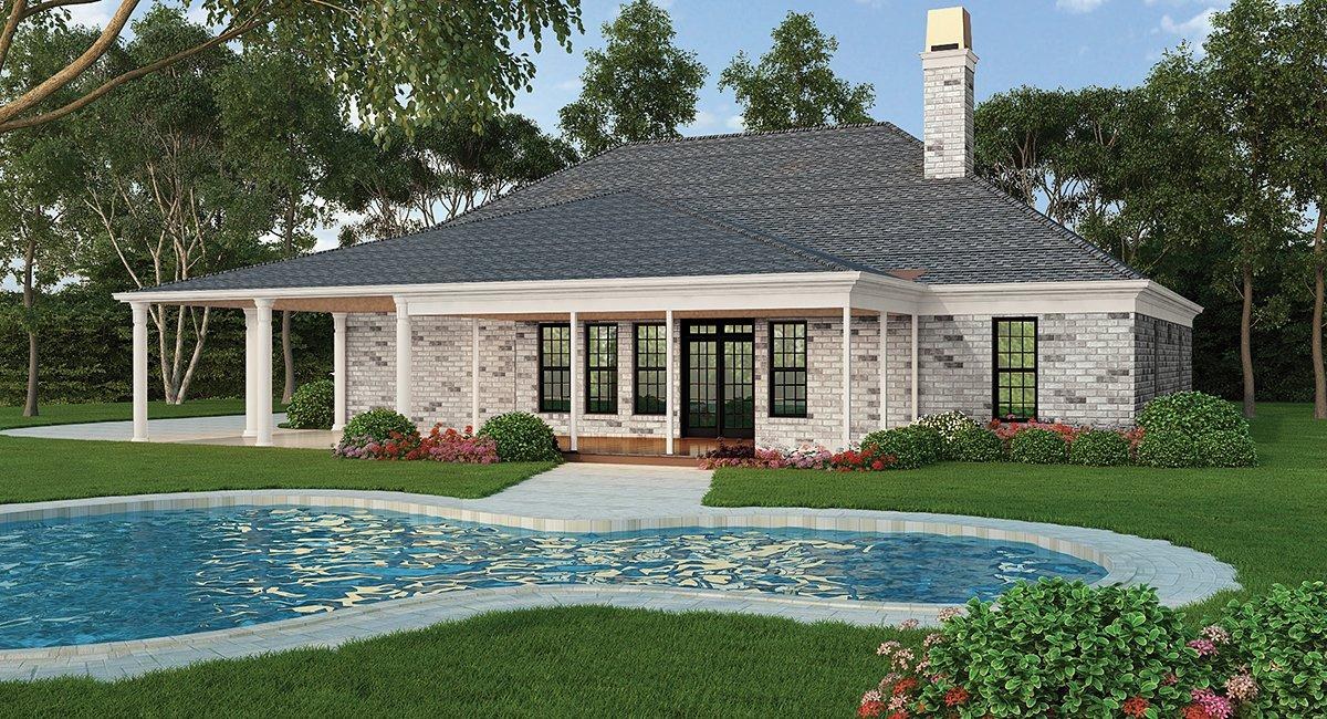 Ranch, Traditional House Plan 72251 with 3 Beds, 4 Baths, 2 Car Garage Rear Elevation