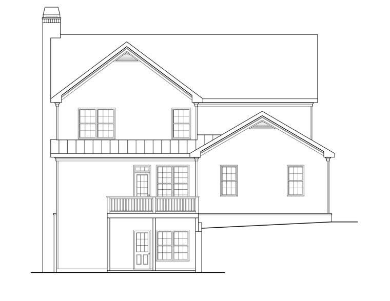 House Plan 72556 with 5 Beds, 4 Baths, 2 Car Garage Rear Elevation