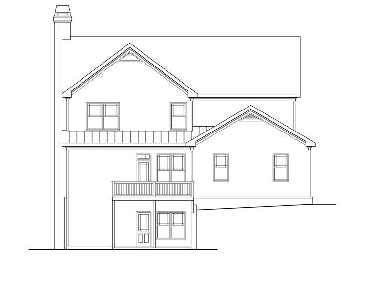 House Plan 72607 with 5 Beds, 4 Baths, 2 Car Garage Rear Elevation