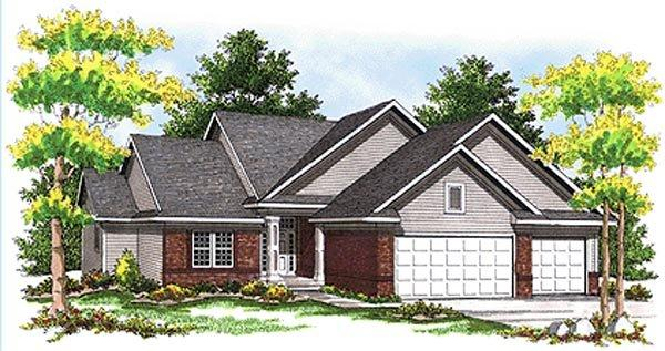 Traditional House Plan 73097 with 4 Beds, 4 Baths, 2 Car Garage Elevation