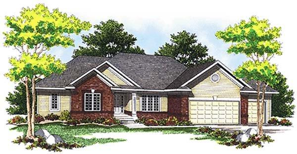 Traditional House Plan 73246 with 2 Beds, 2 Baths, 3 Car Garage Elevation