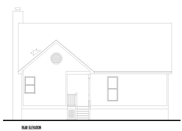 Country, Ranch, Traditional House Plan 74003 with 3 Beds, 2 Baths Rear Elevation
