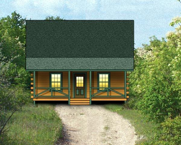 Log, Narrow Lot House Plan 74104 with 2 Beds, 1 Baths Elevation
