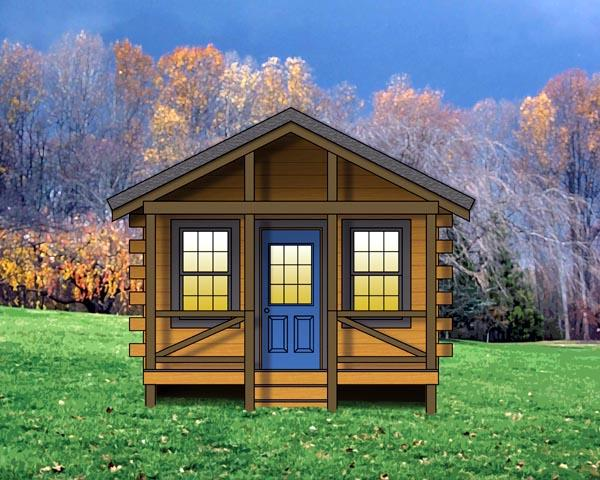 Cabin, Cottage, Log, Narrow Lot, One-Story House Plan 74111 with 1 Beds, 1 Baths Elevation