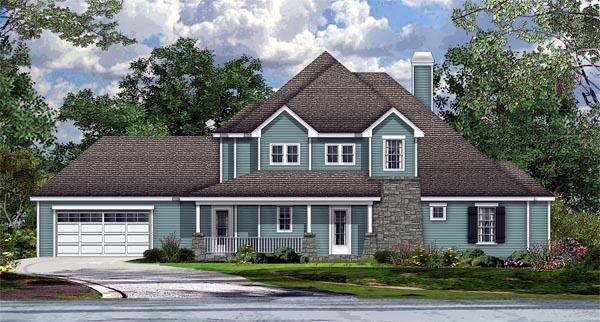Cottage, Country, Craftsman House Plan 74515 with 4 Beds, 5 Baths, 2 Car Garage Elevation
