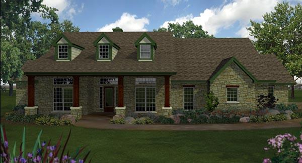 Country, Ranch, Southern House Plan 74551 with 4 Beds, 4 Baths, 3 Car Garage Elevation