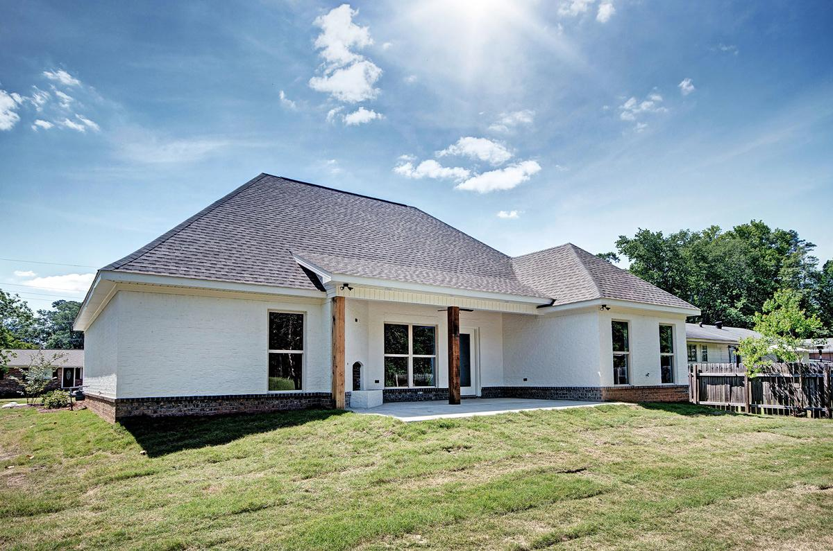 Ranch, Traditional House Plan 74651 with 3 Beds, 2 Baths, 2 Car Garage Rear Elevation