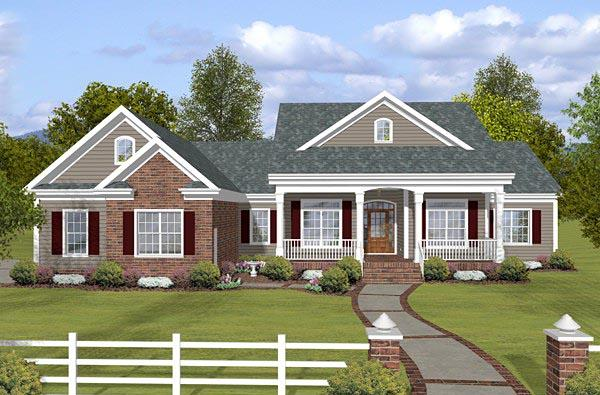 Country, Traditional House Plan 74853 with 3 Beds, 3 Baths, 3 Car Garage Elevation