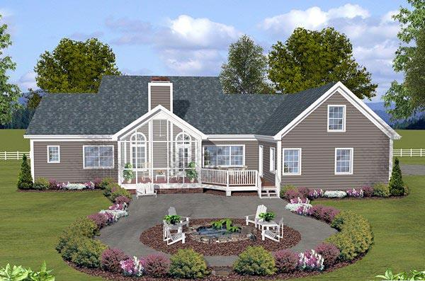Country, Traditional House Plan 74853 with 3 Beds, 3 Baths, 3 Car Garage Rear Elevation
