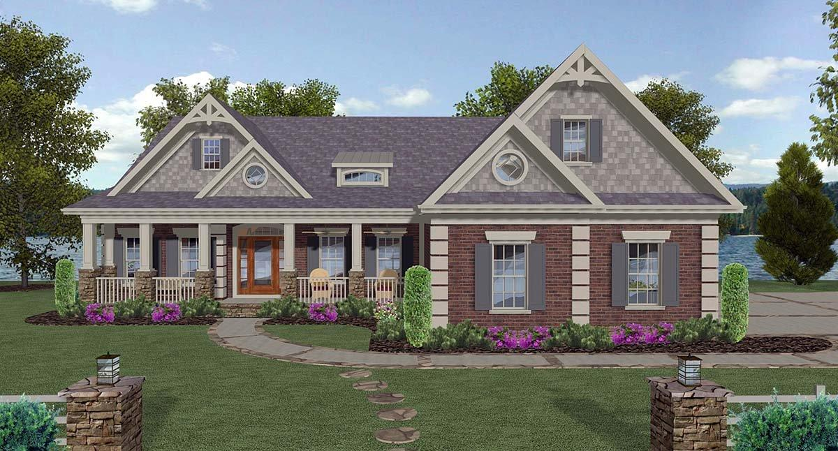 Craftsman, Traditional House Plan 74867 with 4 Beds, 5 Baths, 3 Car Garage Elevation