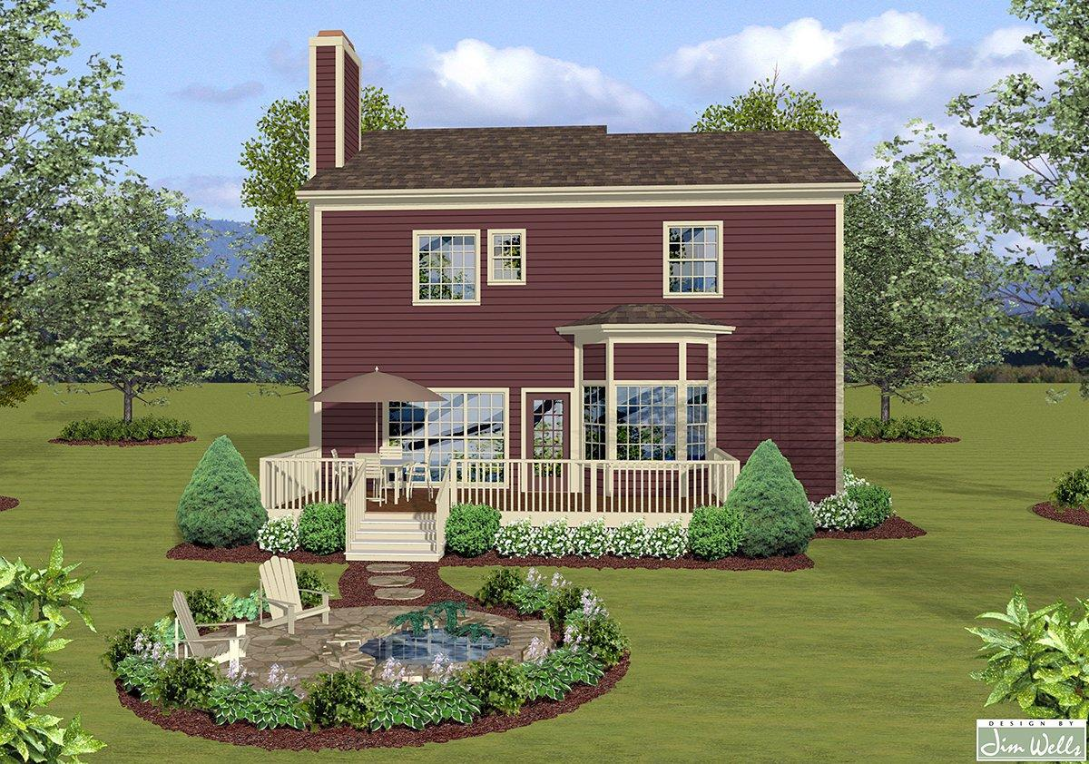 Craftsman, Farmhouse, Narrow Lot, Traditional House Plan 74869 with 3 Beds, 3 Baths, 2 Car Garage Rear Elevation