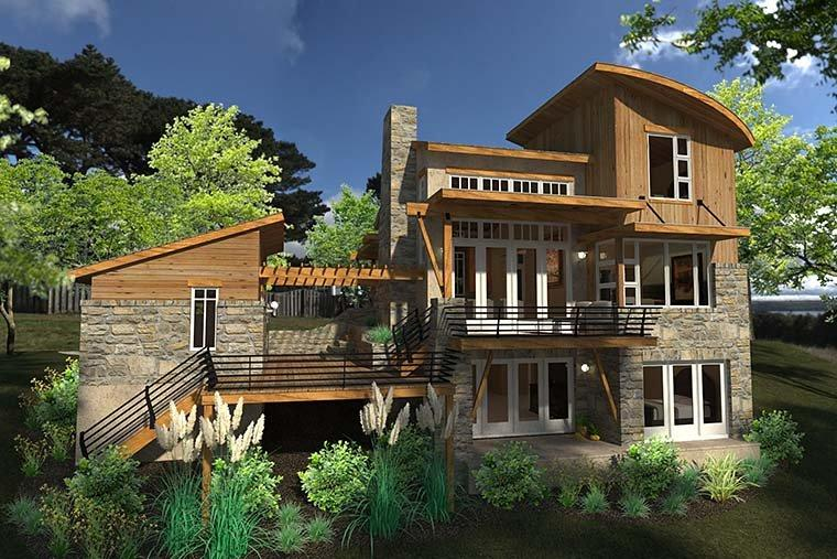 Contemporary, Cottage, Craftsman, Modern, Tuscan House Plan 75140 with 2 Beds, 2 Baths, 1 Car Garage Rear Elevation