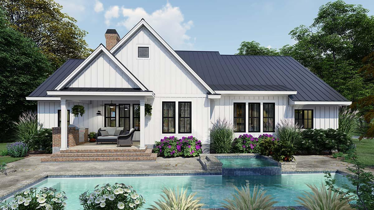 Cottage, Country, Farmhouse House Plan 75163 with 4 Beds, 3 Baths, 2 Car Garage Rear Elevation